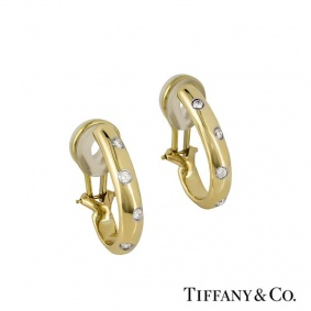 Tiffany & Co. 18k Yellow Gold Diamond Set Etoile Earrings